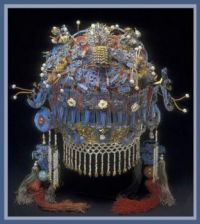 Qing dynasty headdress, with carnelians, pearls, coral, turquoise and kingfisher feathers