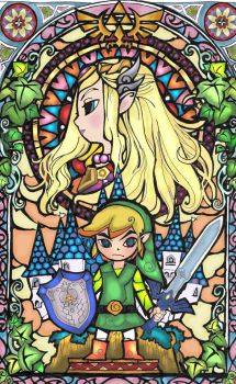 Link and Zelda stained glass