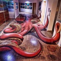 Octopus floor mural