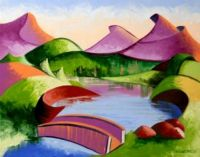 Abstract Geometric Mountain Bridge Landscape Painting