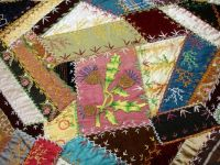 Crazy Quilt with Thistles on Pink