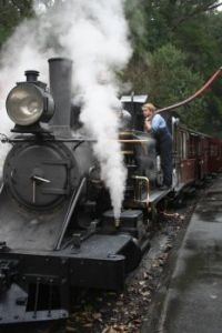 Taking on water, Puffing Billy, Victoria