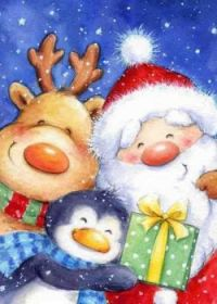 Santa, Reindeer and Penguin Christmas puzzle