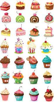 Cartoon-cupcakes-vector