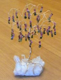 Tourmaline 'willow' gem tree on a Quartz crystal base