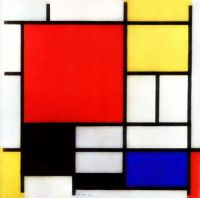 """Composition with Red, Yellow, Blue and Black"" (1921) by Piet Mondrian."