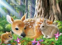 Fawn, mouse and bunny