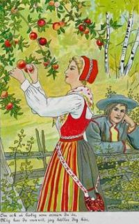 Woman picking apples - art by Jenny Nyström