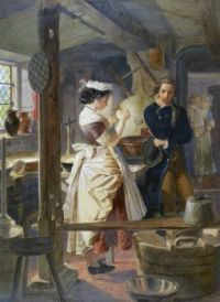 Edward Henry Corbould - Hetty Sorrel and Captain Donnithorne in Mrs Poyser's dairy 1861