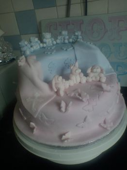Christening Cake for Ela and baby brother Lewis