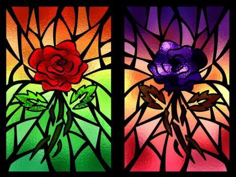 Roses on glass