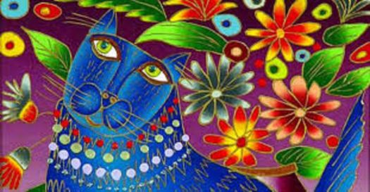 blue cat with flowers.