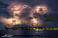 Sailboat with Bolts of Lightning