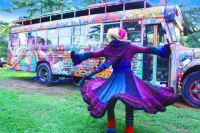 Rainbow Bus and Purple Coat