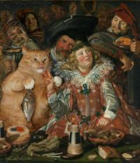 A few famous paintings with a fat cat added