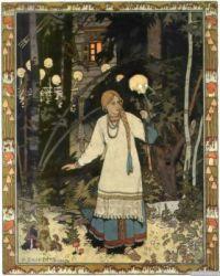 Ivan Bilibin. Vasilisa the Beautiful leaves the hut of Baba Yaga. 1899