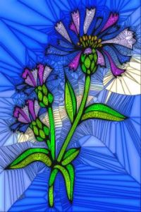 STAINED GLASS FLOWER B25