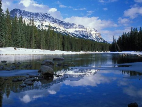 Bow River Mountain Canada