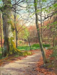 'lake in forest in spring' by Peder Mork Monsted