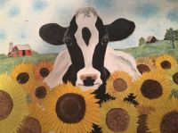 Cow in the Sunflowers