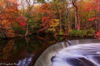 Autumn in New England - Hunts Mills Falls in Rhode Island, USA