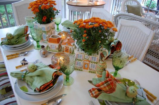 Orange and Green Tablescape