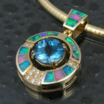14 Karat Gold, Australian Opal, Blue Topaz and Diamond (Hileman Silver)