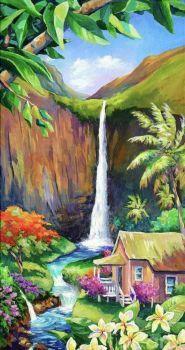 'Kauai Cascades', Hawaii Waterfall Painting