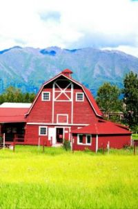 Old Red Barn by the Mountains...