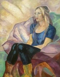 The girl in suade boots