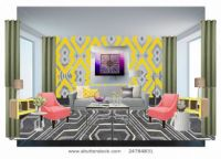OB-Lemon Coral And Gray Living Room