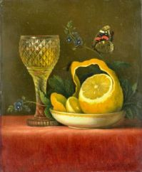 Still life with lemon and cut glass