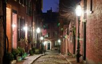 Acorn Street at night, Beacon Hill, Boston, Massachusetts
