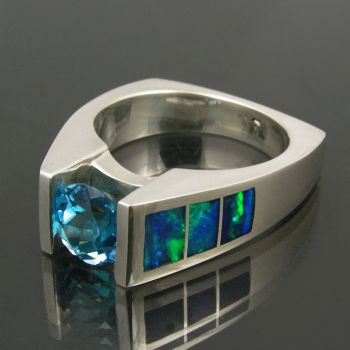 Sterling Silver, Blue Topaz And Inlaid Australian Opal (Hileman Silver)