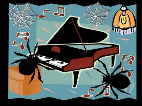 Hear Ye : Suspiria the Spider entertains at the piano, and a friend comes visiting......