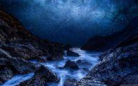 Nuit étoilée cyan