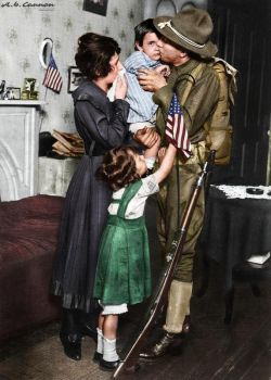 U.S. soldier bidding his family farewell to fight in WWI, 1917