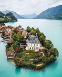 Iseltwald Castle on Lake Brienz