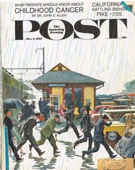 Commuters in the rain