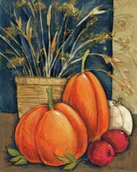 Autumn Still Life-Straw Basket