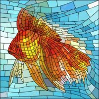 16083253-Vector-illustration-of-gold-fish-in-water-stained-glass-window--Stock-Vector