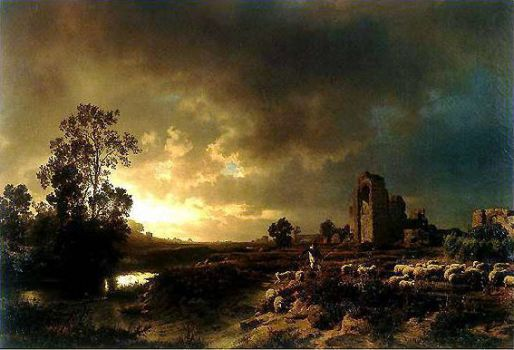 Evening in the Campagna, 1850 by Oswald Achenbach