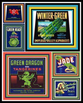 Vintage Fruit Crate Labels GREEN