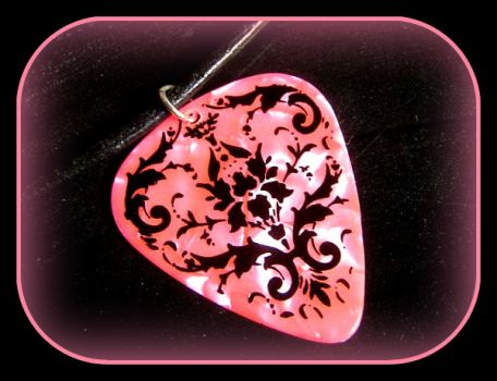 Pinknblack Guitar Pick Necklace - How cool is this?