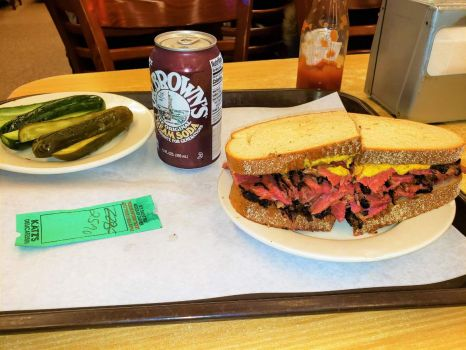 Katz pastrami with pickles and root beer (cream soda!)