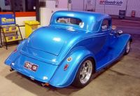 Blue hotrod rear view