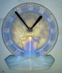 Opalescent Glass Normandie Clock, France, 1930