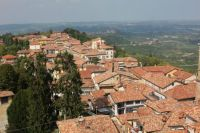 Roof tiles on a mountain side near wine district of Barolo