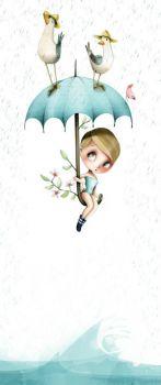 pretty girl under umbrella