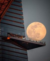 Moon over Hudson Yards in New York